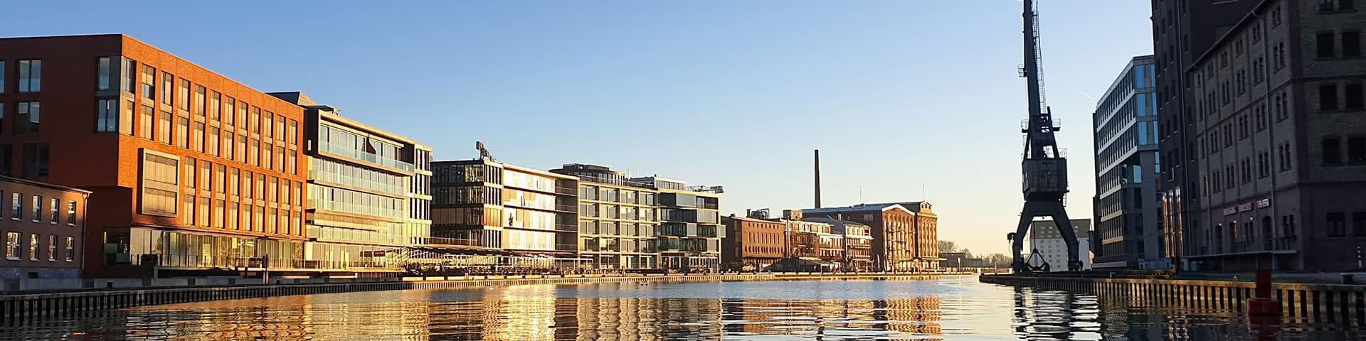 Hafen in Münster bei Sonnenuntergang