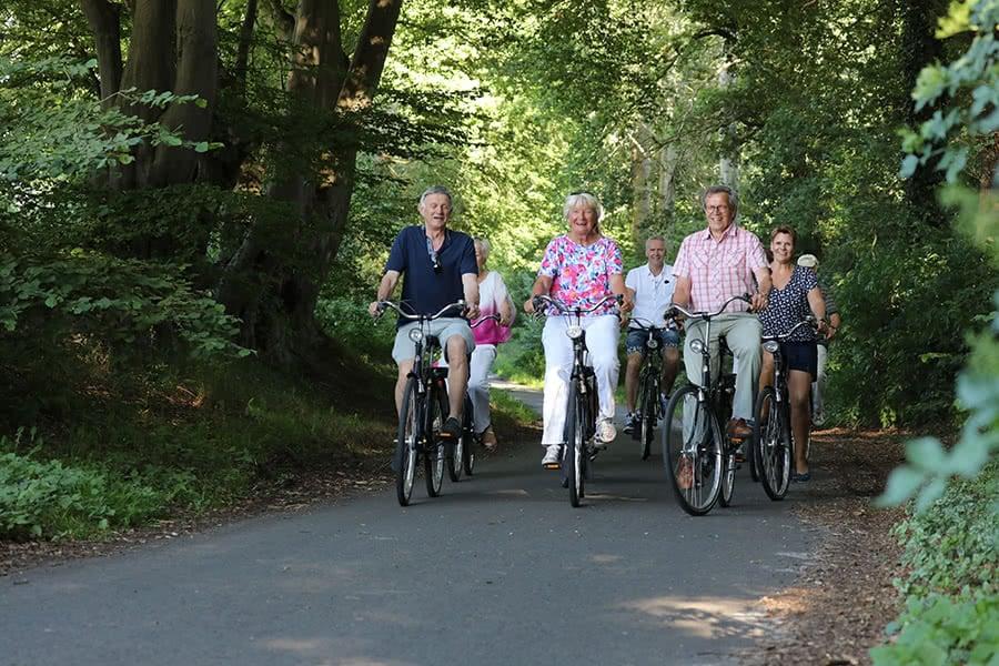 Eine Gruppe macht eine Radtour durch einen Wald